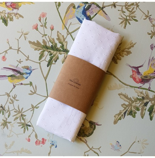Coupon tissu – Plumetis blanc
